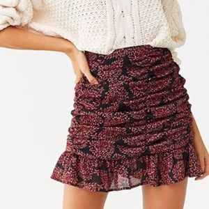 Forever 21 Floral Print Chiffon Ruched Mini Skirt